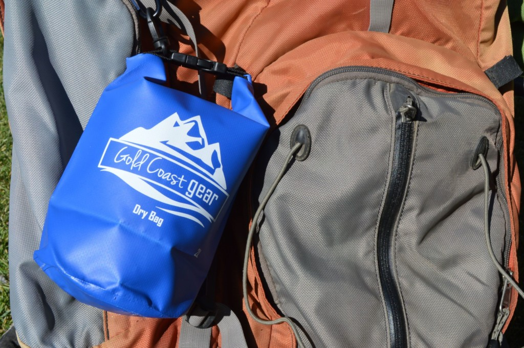 dry bag attached to backpack