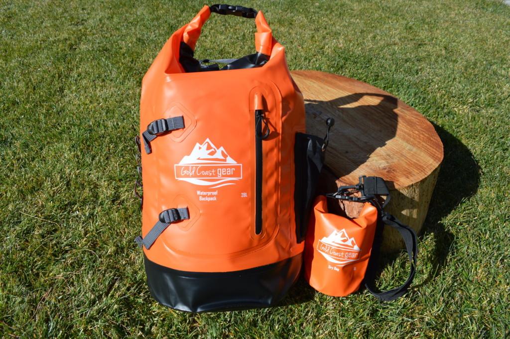 Waterproof backpack with dry bag
