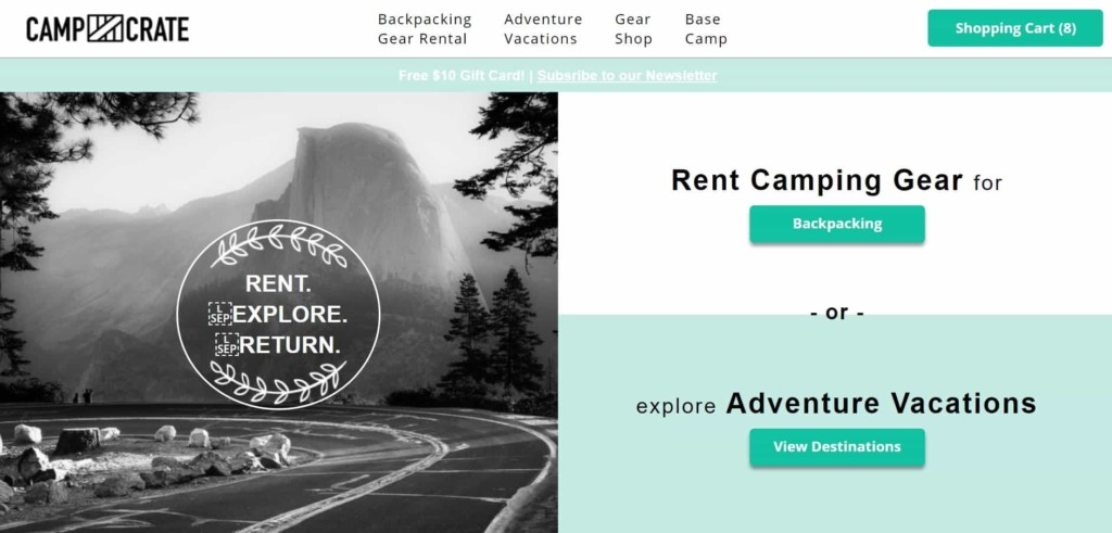 Camp crate rent camping gear online