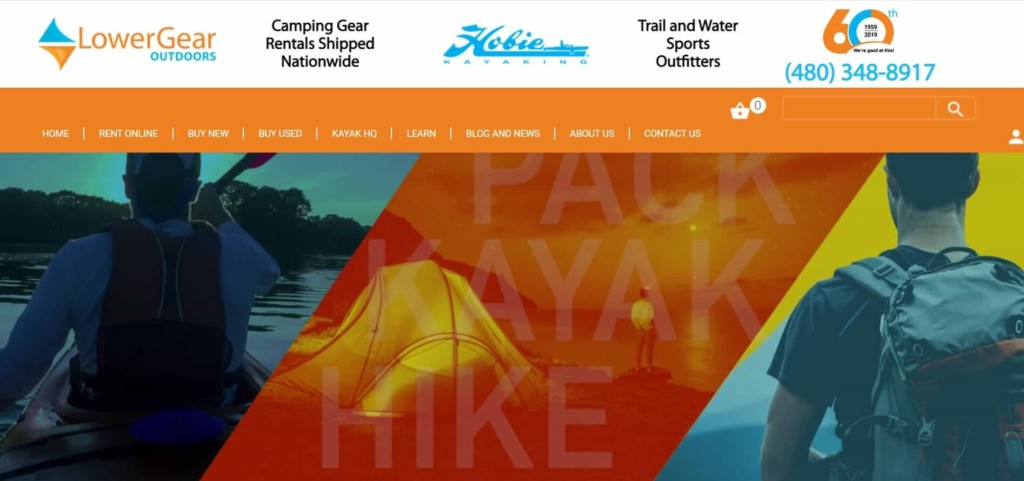 Lowergear website renting camping and hiking gear