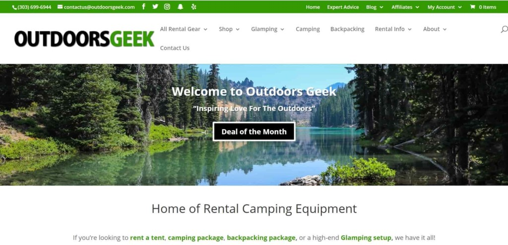 Outdoor Geek rental camping and hiking