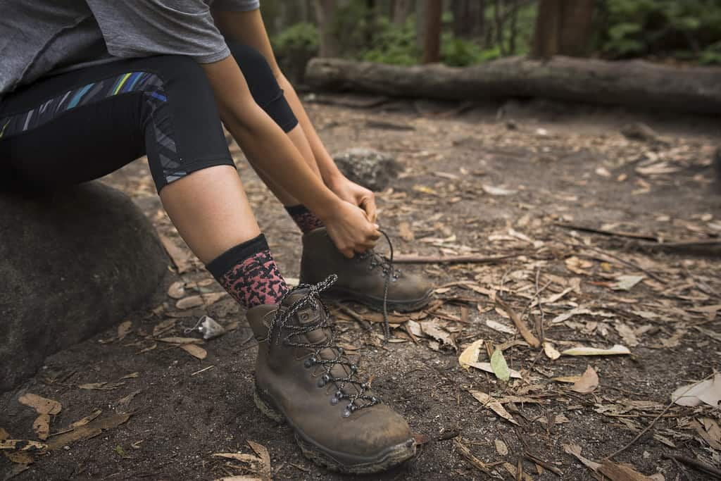 hiker with sock liners