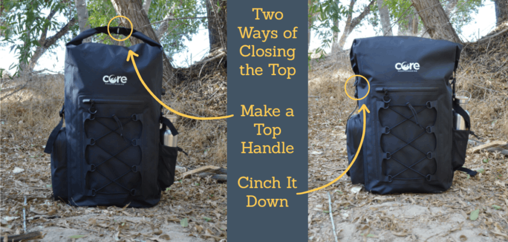 way of closing a waterproof backpack