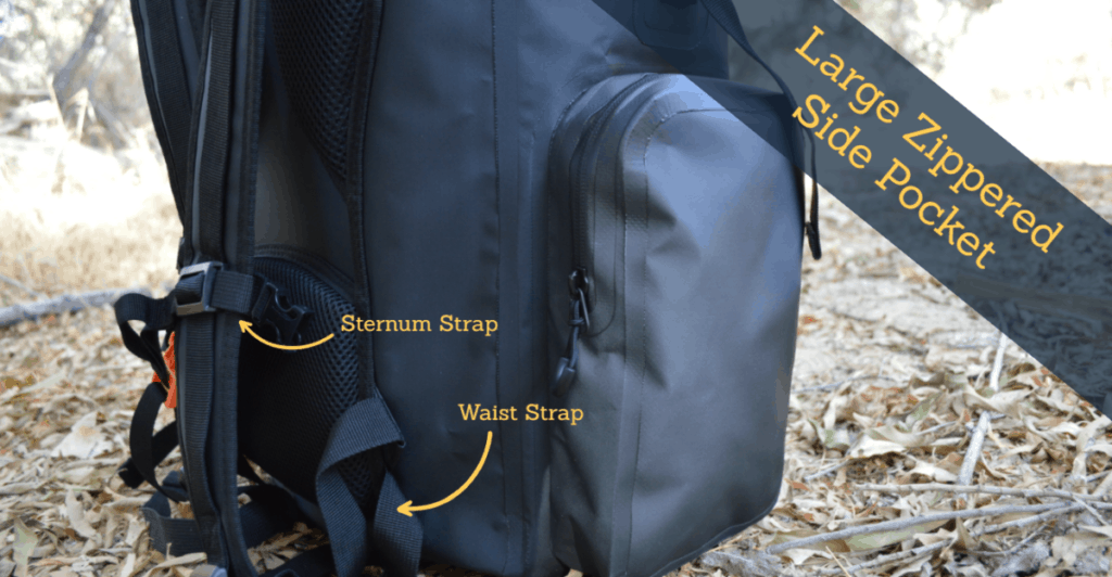 zippers on waterproof backpack
