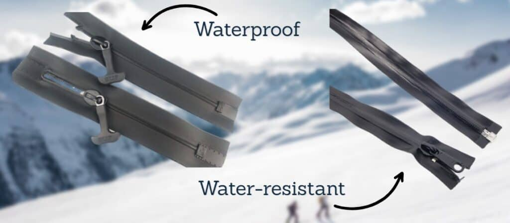 waterproof zipper vs water resistant
