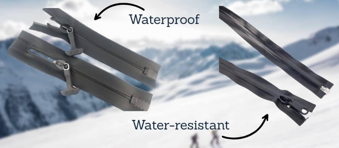 waterproof zipper vs water resistant