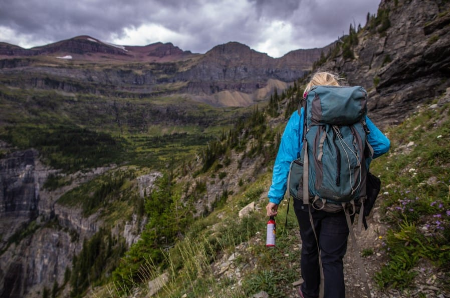Women hiking with polyester hiking gear